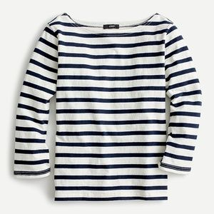 J. Crew Structured Boatneck Striped Tee